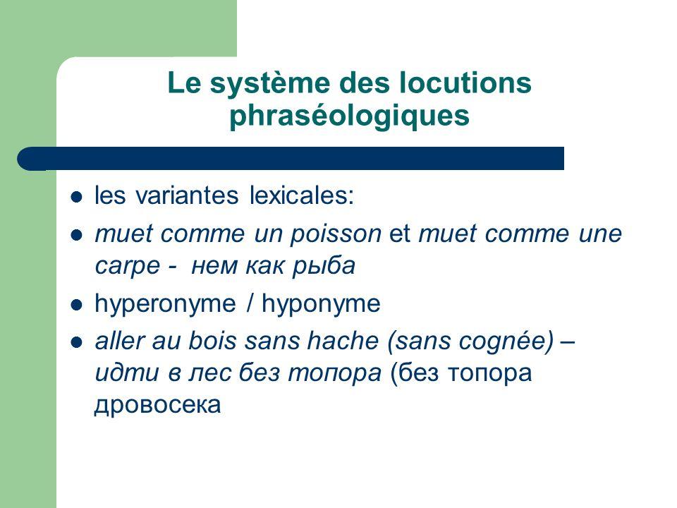 Le système des locutions phraséologiques les variantes lexicales: muet comme un poisson et muet comme une carpe - нем как рыба hyperonyme / hyponyme a