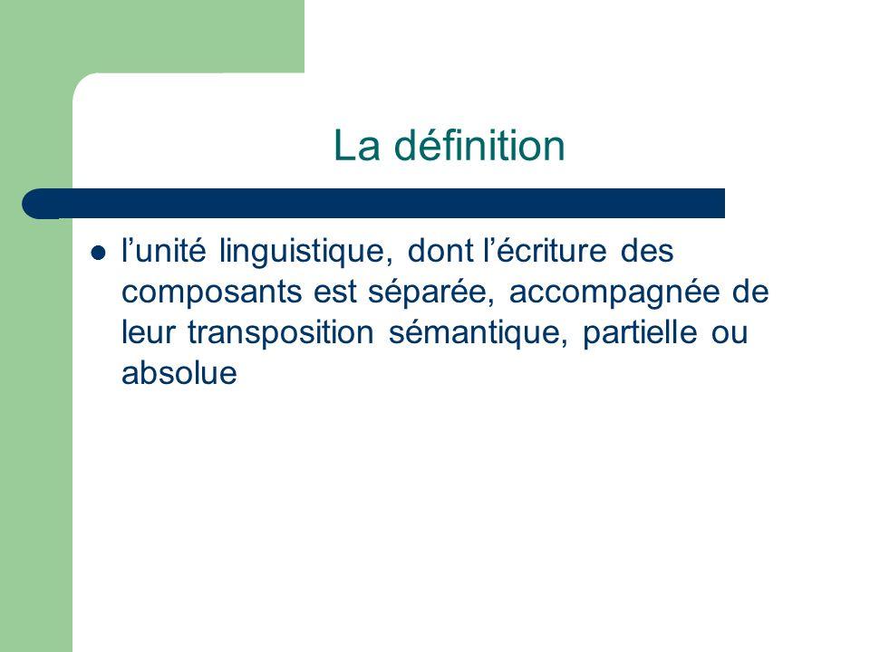 La définition lunité linguistique, dont lécriture des composants est séparée, accompagnée de leur transposition sémantique, partielle ou absolue