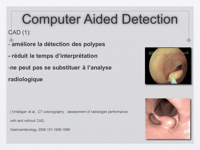 Computer Aided Detection CAD (1): - améliore la détection des polypes - réduit le temps dinterprétation - -ne peut pas se substituer à lanalyse radiologique (1)Halligan et al., CT colonography : assessment of radiologist performance with and without CAD, Gastroenterology 2006;131:1690-1699
