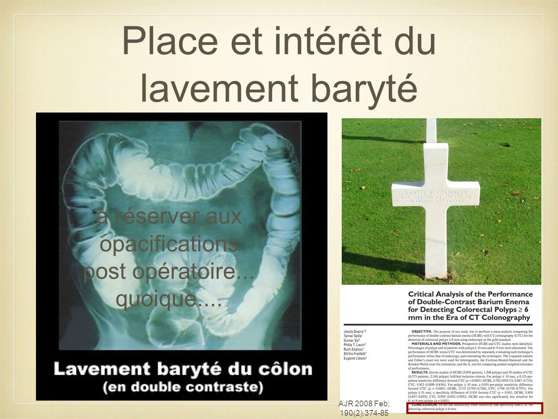 Place et intérêt du lavement baryté à réserver aux opacifications post opératoire...