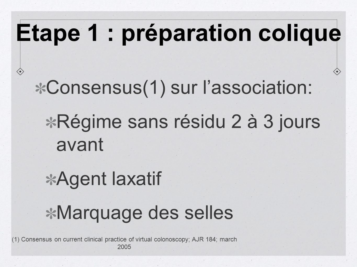 Consensus(1) sur lassociation: Régime sans résidu 2 à 3 jours avant Agent laxatif Marquage des selles (1) Consensus on current clinical practice of vi