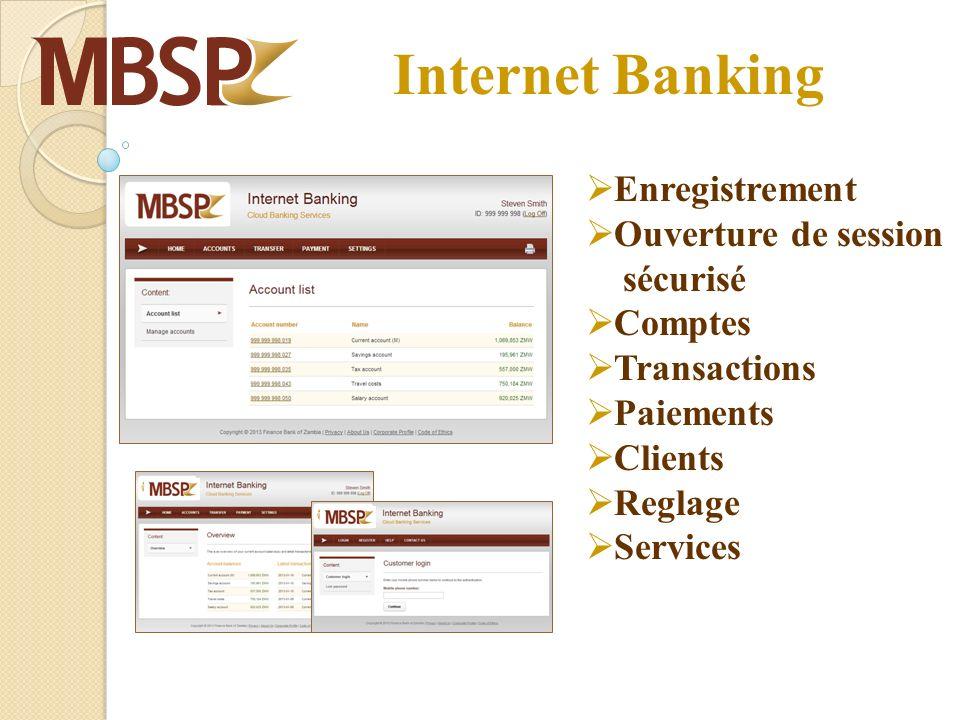 Internet Banking Enregistrement Ouverture de session sécurisé Comptes Transactions Paiements Clients Reglage Services