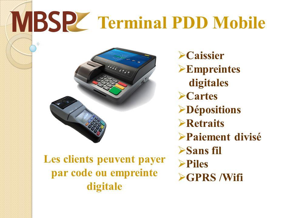Terminal PDD Mobile Caissier Empreintes digitales Cartes Dépositions Retraits Paiement divisé Sans fil Piles GPRS /Wifi Les clients peuvent payer par