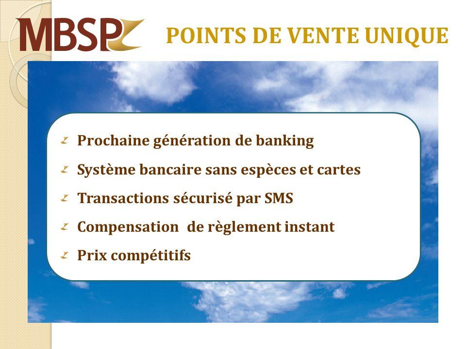 POINTS DE VENTE UNIQUE Prochaine génération de banking Système bancaire sans espèces et cartes Transactions sécurisé par SMS Compensation de règlement