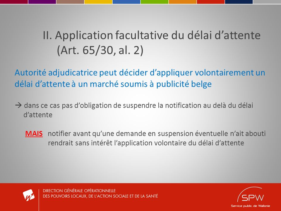 II. Application facultative du délai dattente (Art.