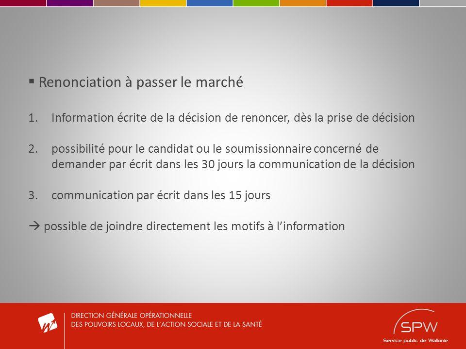 Renonciation à passer le marché 1.Information écrite de la décision de renoncer, dès la prise de décision 2.possibilité pour le candidat ou le soumiss