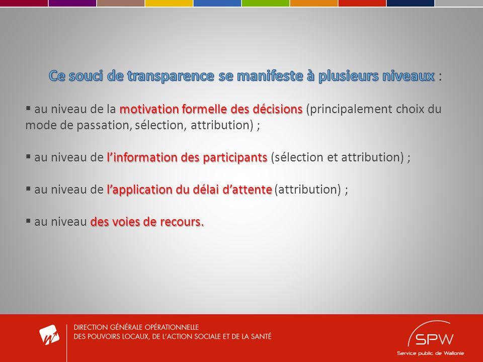 C) INFORMATION DES PARTICIPANTS I.Sélection et qualification des candidats II.Attribution du marché III.Renonciation ou recommencement du marché IV.Restrictions à linformation