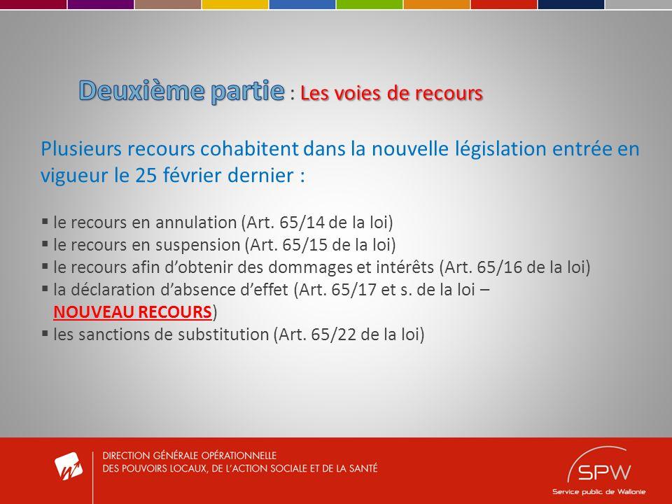Plusieurs recours cohabitent dans la nouvelle législation entrée en vigueur le 25 février dernier : le recours en annulation (Art. 65/14 de la loi) le
