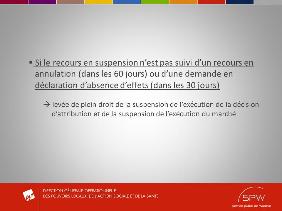 Si le recours en suspension nest pas suivi dun recours en annulation (dans les 60 jours) ou dune demande en déclaration dabsence deffets (dans les 30