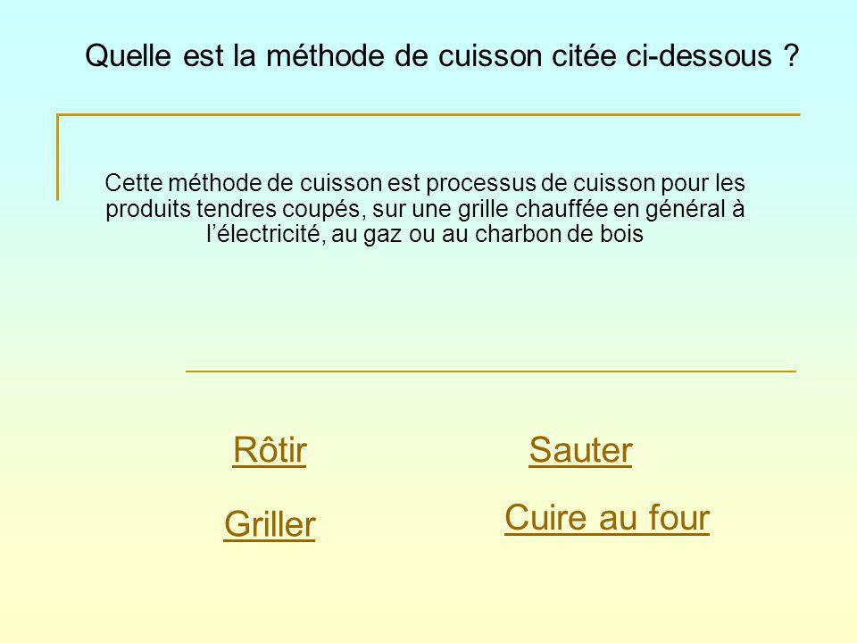 Cette méthode de cuisson est processus de cuisson pour les produits tendres coupés, sur une grille chauffée en général à lélectricité, au gaz ou au charbon de bois Quelle est la méthode de cuisson citée ci-dessous .