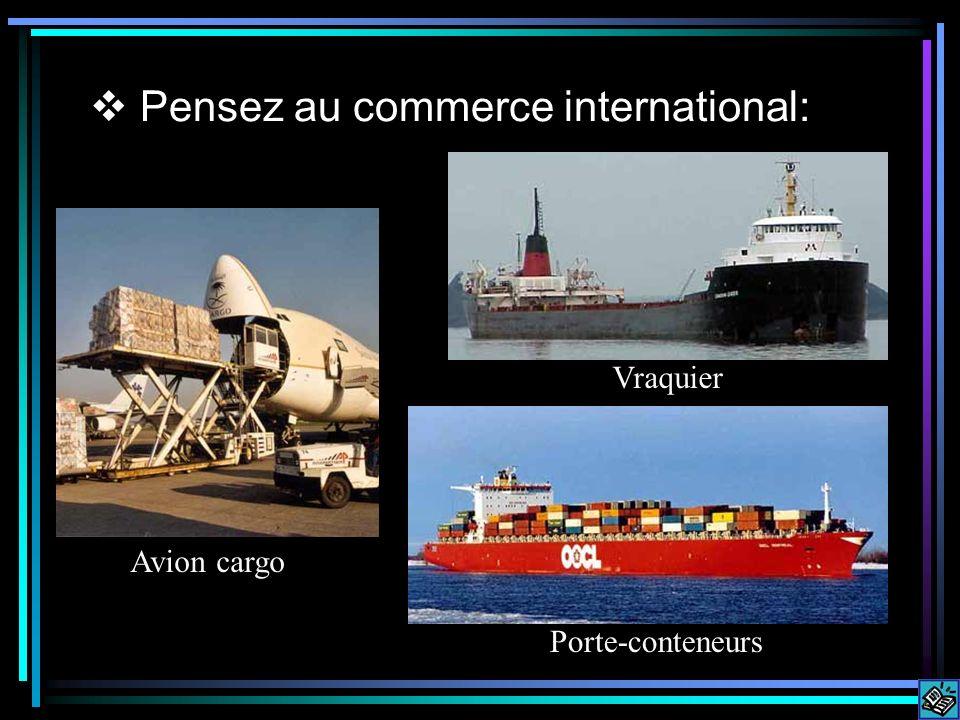 Pensez au commerce international: Avion cargo Porte-conteneurs Vraquier