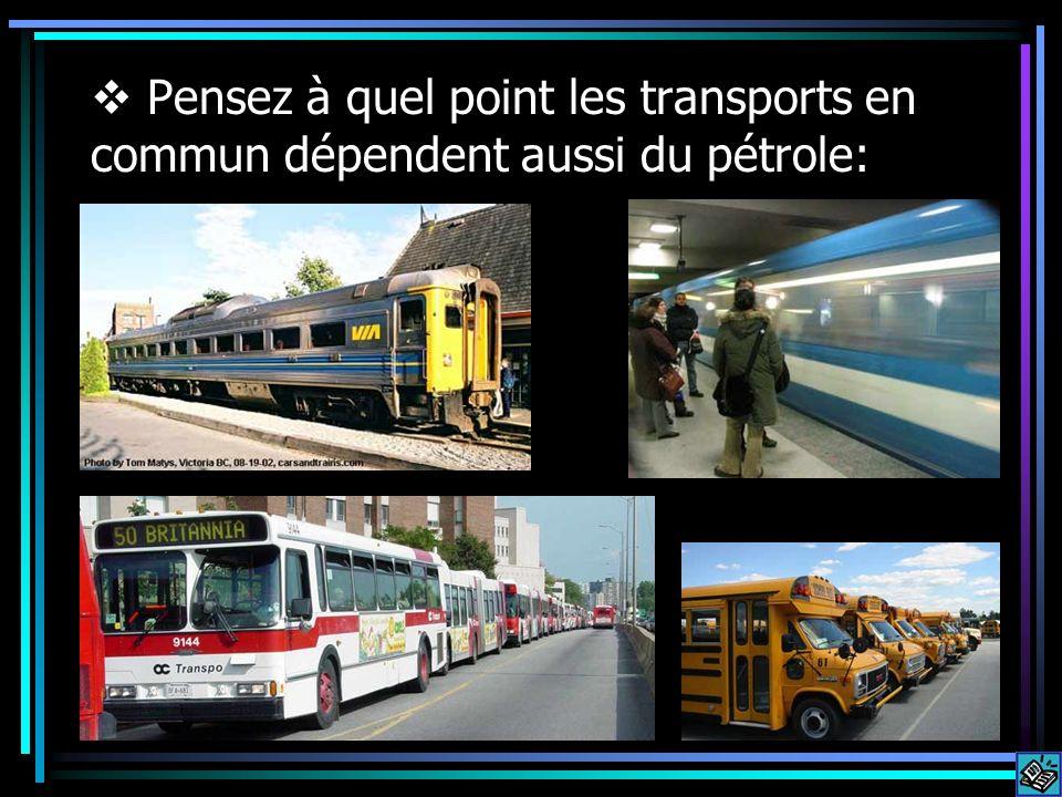 Pensez à quel point les transports en commun dépendent aussi du pétrole: