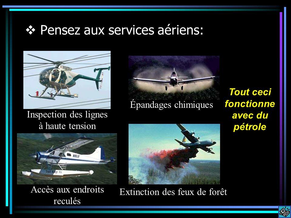 Pensez aux services aériens: Inspection des lignes à haute tension Épandages chimiques Accès aux endroits reculés Extinction des feux de forêt Tout ceci fonctionne avec du pétrole