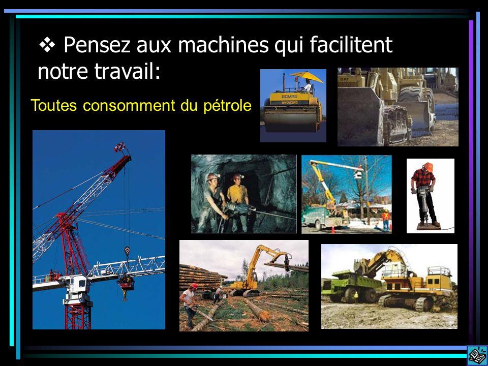 Pensez aux machines qui facilitent notre travail: Toutes consomment du pétrole