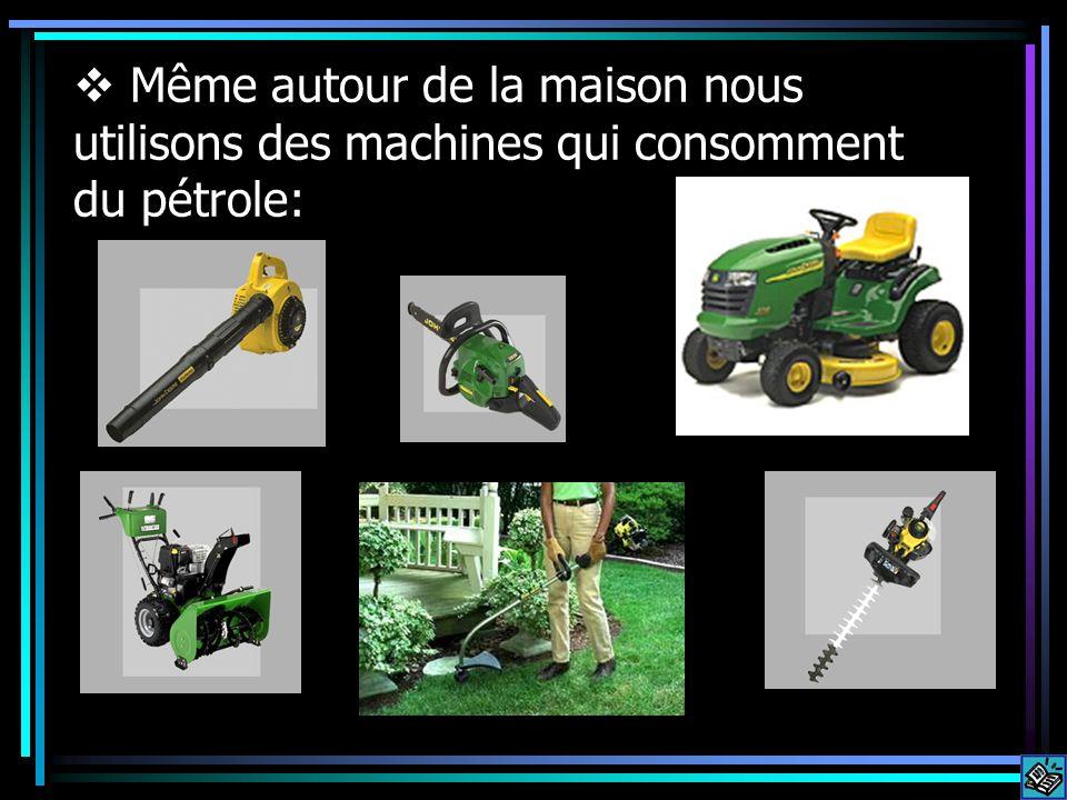 Même autour de la maison nous utilisons des machines qui consomment du pétrole: