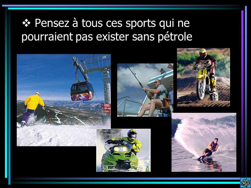 Pensez à tous ces sports qui ne pourraient pas exister sans pétrole