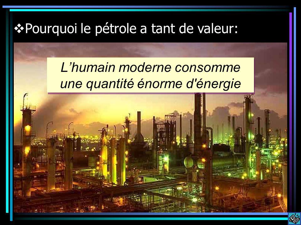 Lhumain moderne consomme une quantité énorme d énergie Pourquoi le pétrole a tant de valeur: