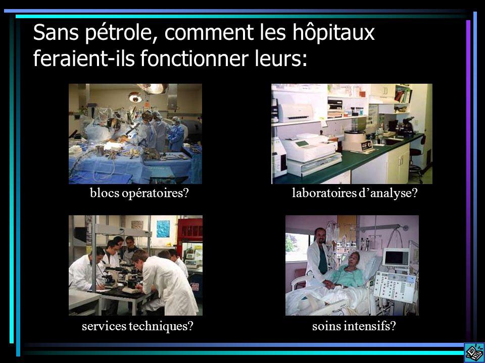 Sans pétrole, comment les hôpitaux feraient-ils fonctionner leurs: blocs opératoires.