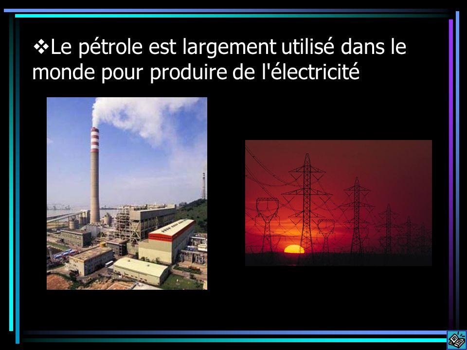 Le pétrole est largement utilisé dans le monde pour produire de l électricité