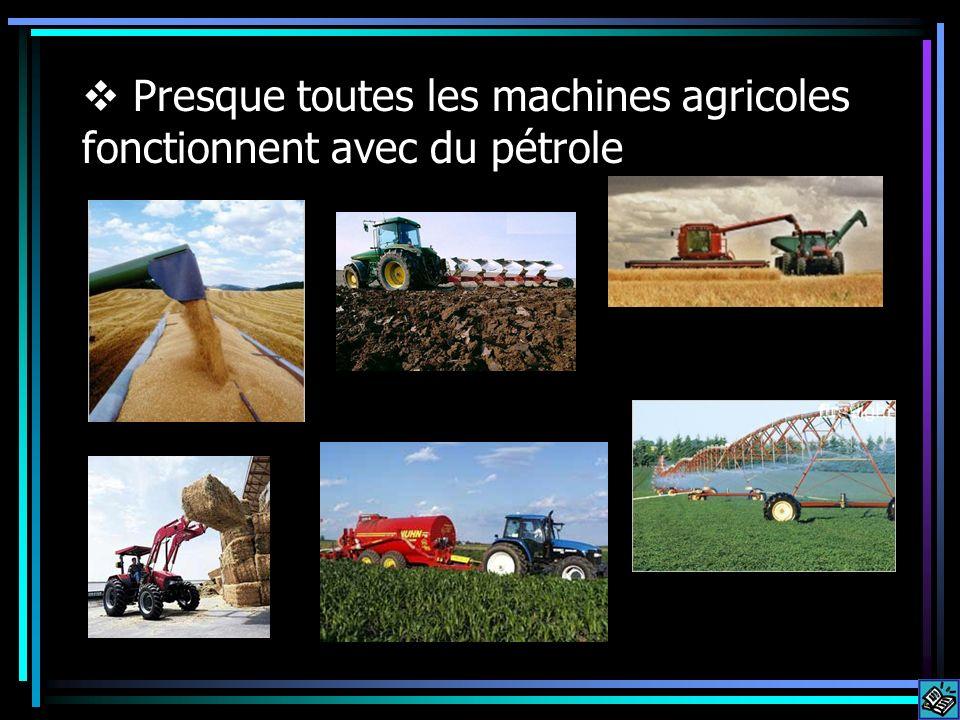 Presque toutes les machines agricoles fonctionnent avec du pétrole