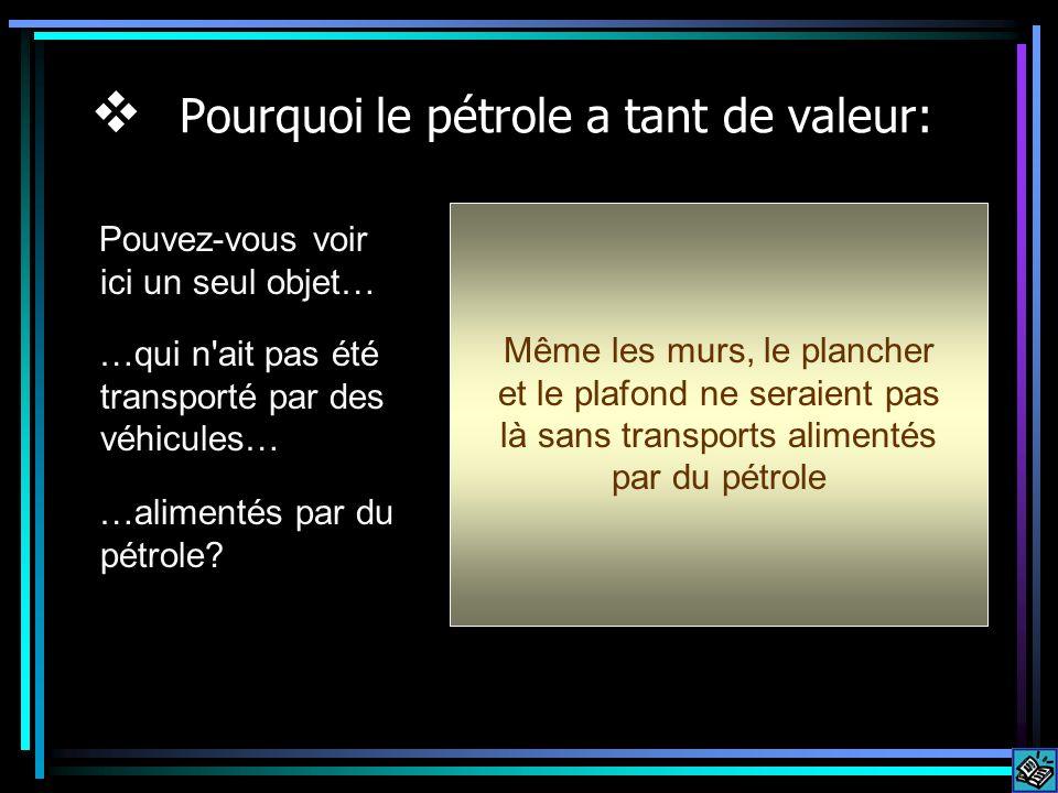 Pourquoi le pétrole a tant de valeur: Pouvez-vous voir ici un seul objet… …qui n ait pas été transporté par des véhicules… …alimentés par du pétrole.