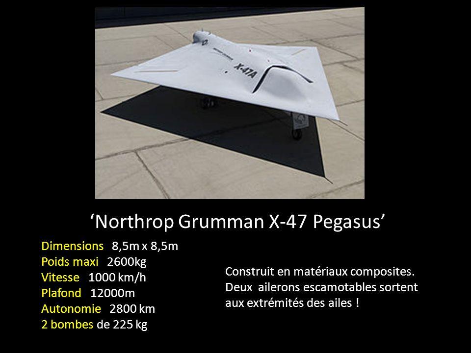 Northrop Grumman X-47 Pegasus Dimensions 8,5m x 8,5m Poids maxi 2600kg Vitesse 1000 km/h Plafond 12000m Autonomie 2800 km 2 bombes de 225 kg Construit en matériaux composites.