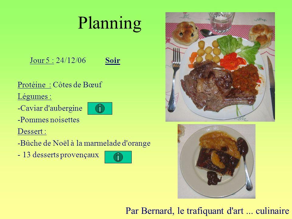 Planning Par Bernard, le trafiquant d'art... culinaire Jour 5 : 24/12/06Soir Protéine : Côtes de Bœuf Légumes : -Caviar d'aubergine -Pommes noisettes