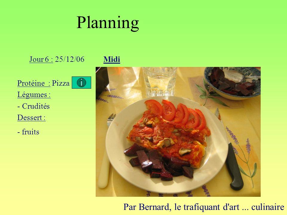 Planning Par Bernard, le trafiquant d'art... culinaire Jour 6 : 25/12/06Midi Protéine : Pizza Légumes : - Crudités Dessert : - fruits