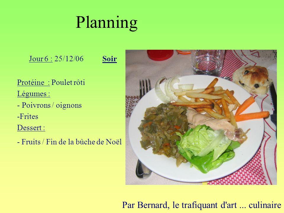 Planning Par Bernard, le trafiquant d'art... culinaire Jour 6 : 25/12/06Soir Protéine : Poulet rôti Légumes : - Poivrons / oignons -Frites Dessert : -