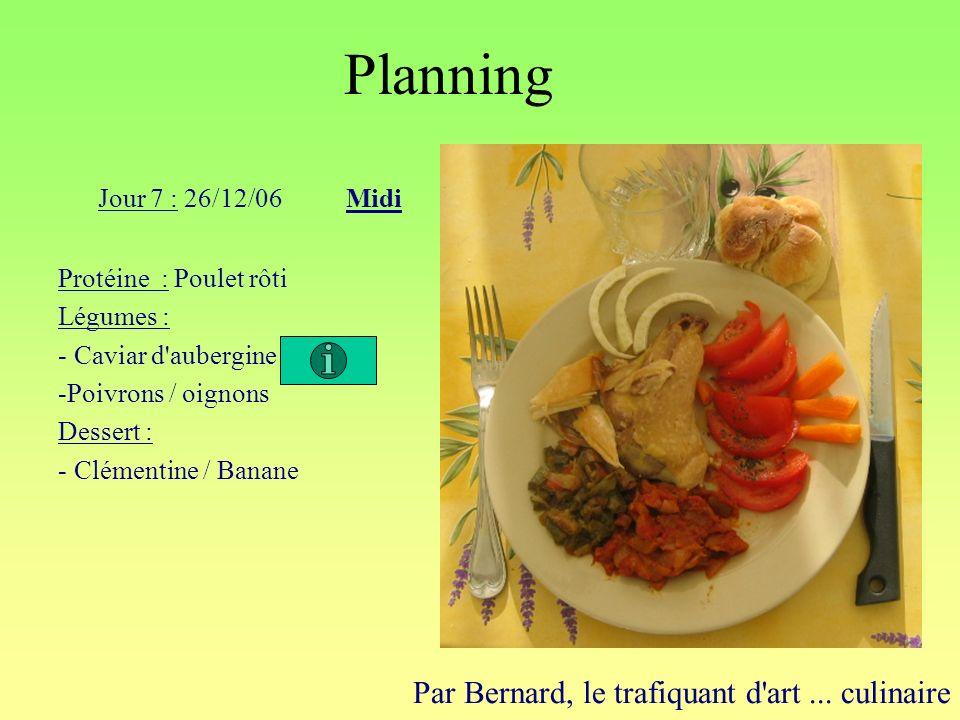 Planning Par Bernard, le trafiquant d'art... culinaire Jour 7 : 26/12/06Midi Protéine : Poulet rôti Légumes : - Caviar d'aubergine -Poivrons / oignons