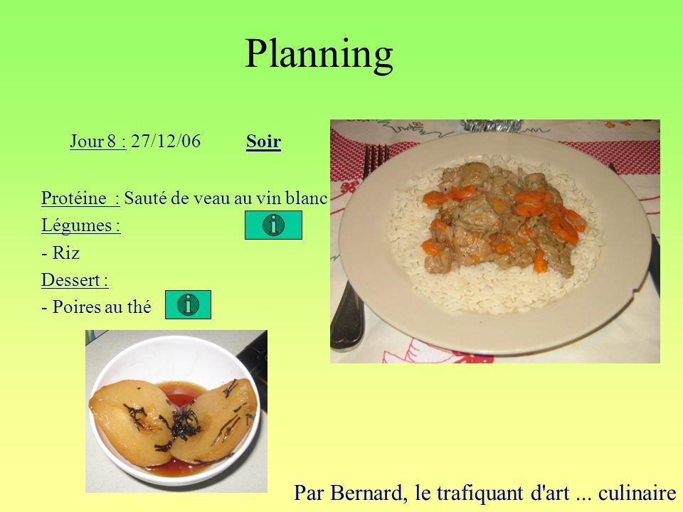 Planning Par Bernard, le trafiquant d'art... culinaire Jour 8 : 27/12/06Soir Protéine : Sauté de veau au vin blanc Légumes : - Riz Dessert : - Poires