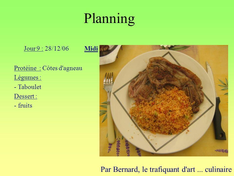 Planning Par Bernard, le trafiquant d'art... culinaire Jour 9 : 28/12/06Midi Protéine : Côtes d'agneau Légumes : - Taboulet Dessert : - fruits
