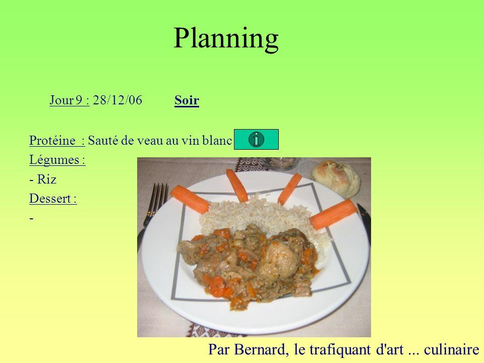 Planning Par Bernard, le trafiquant d'art... culinaire Jour 9 : 28/12/06Soir Protéine : Sauté de veau au vin blanc Légumes : - Riz Dessert : -