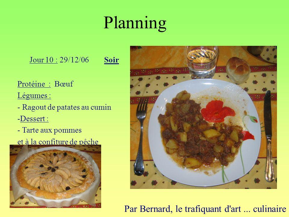 Planning Par Bernard, le trafiquant d'art... culinaire Jour 10 : 29/12/06Soir Protéine : Bœuf Légumes : - Ragout de patates au cumin -Dessert : - Tart