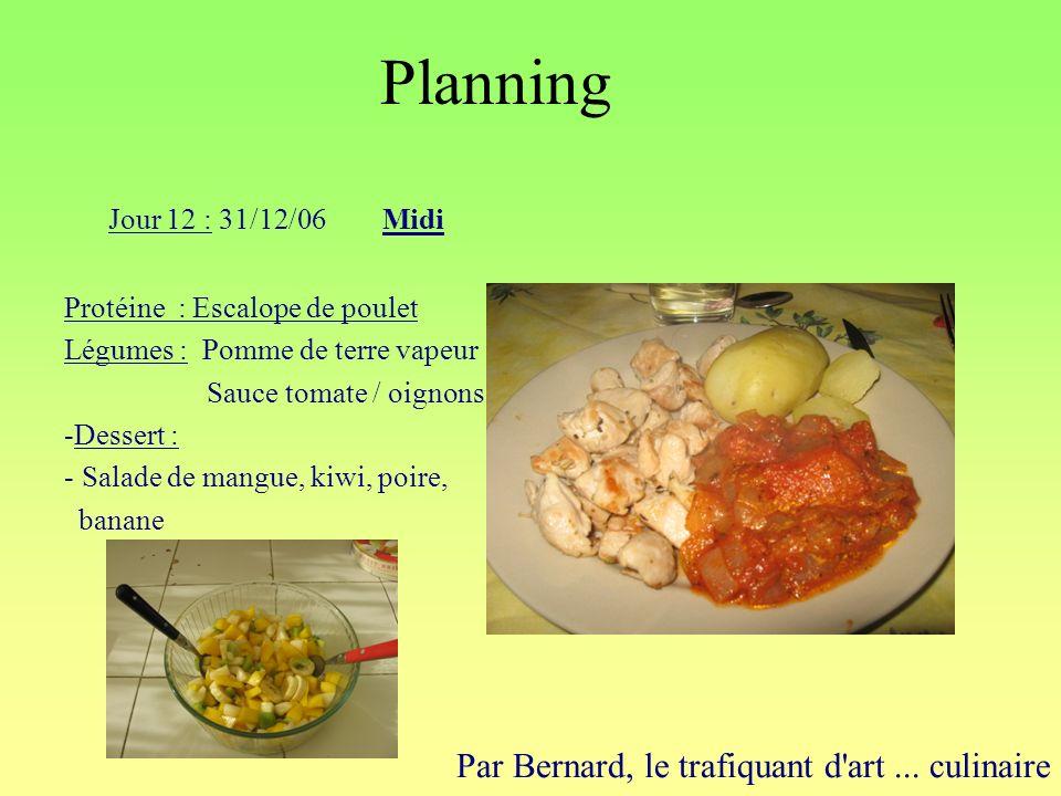 Planning Par Bernard, le trafiquant d'art... culinaire Jour 12 : 31/12/06Midi Protéine : Escalope de poulet Légumes : Pomme de terre vapeur Sauce toma