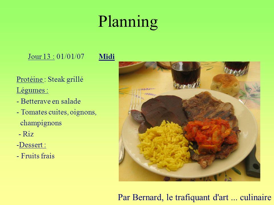Planning Par Bernard, le trafiquant d'art... culinaire Jour 13 : 01/01/07Midi Protéine : Steak grillé Légumes : - Betterave en salade - Tomates cuites