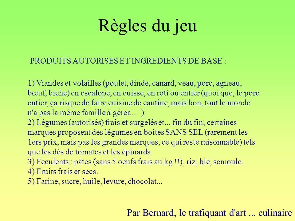 Règles du jeu Par Bernard, le trafiquant d'art... culinaire 1) Viandes et volailles (poulet, dinde, canard, veau, porc, agneau, bœuf, biche) en escalo