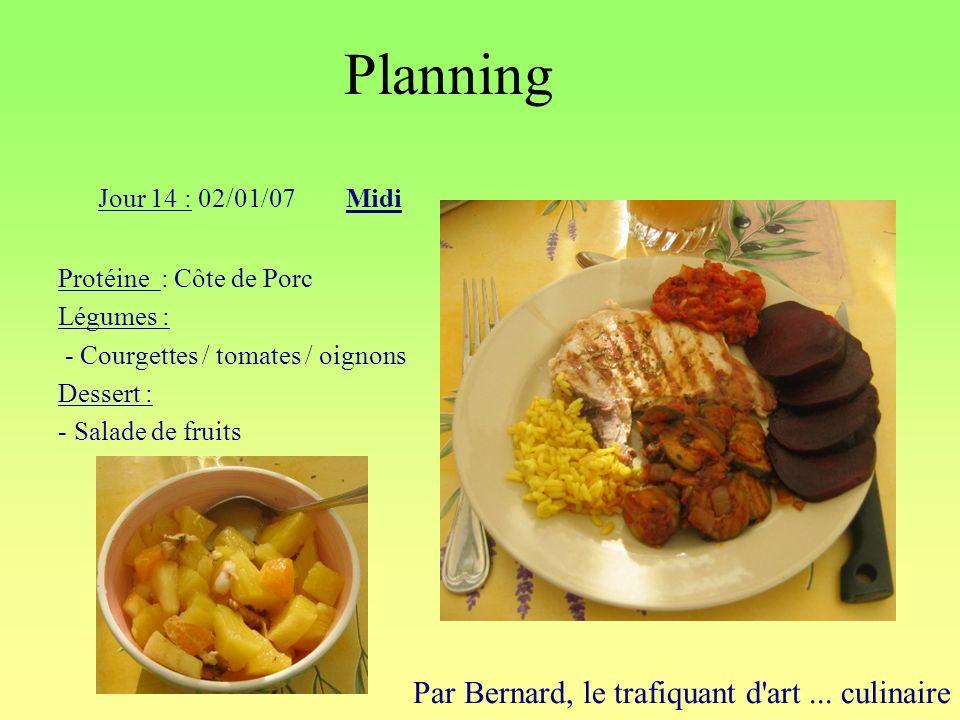 Planning Par Bernard, le trafiquant d'art... culinaire Jour 14 : 02/01/07Midi Protéine : Côte de Porc Légumes : - Courgettes / tomates / oignons Desse
