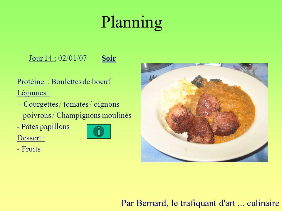 Planning Par Bernard, le trafiquant d'art... culinaire Jour 14 : 02/01/07Soir Protéine : Boulettes de boeuf Légumes : - Courgettes / tomates / oignons