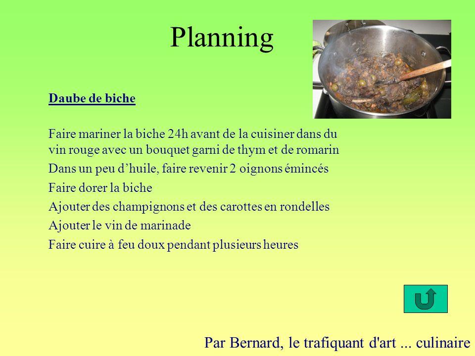 Planning Par Bernard, le trafiquant d'art... culinaire Daube de biche Faire mariner la biche 24h avant de la cuisiner dans du vin rouge avec un bouque