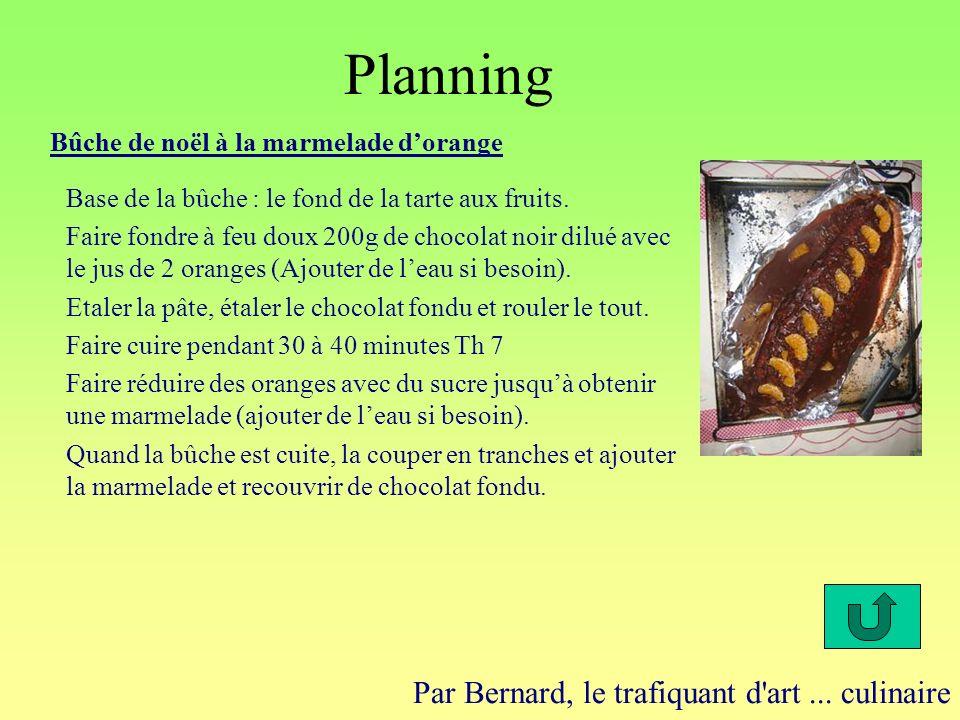 Planning Par Bernard, le trafiquant d'art... culinaire Bûche de noël à la marmelade dorange Base de la bûche : le fond de la tarte aux fruits. Faire f