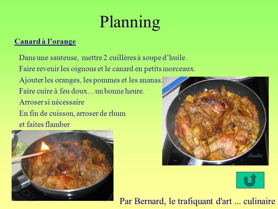 Planning Par Bernard, le trafiquant d'art... culinaire Canard à lorange Dans une sauteuse, mettre 2 cuillères à soupe dhuile. Faire revenir les oignon
