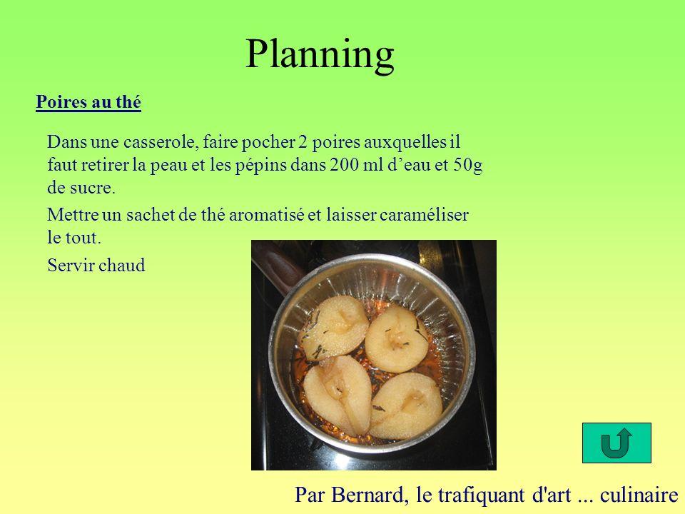 Planning Par Bernard, le trafiquant d'art... culinaire Poires au thé Dans une casserole, faire pocher 2 poires auxquelles il faut retirer la peau et l