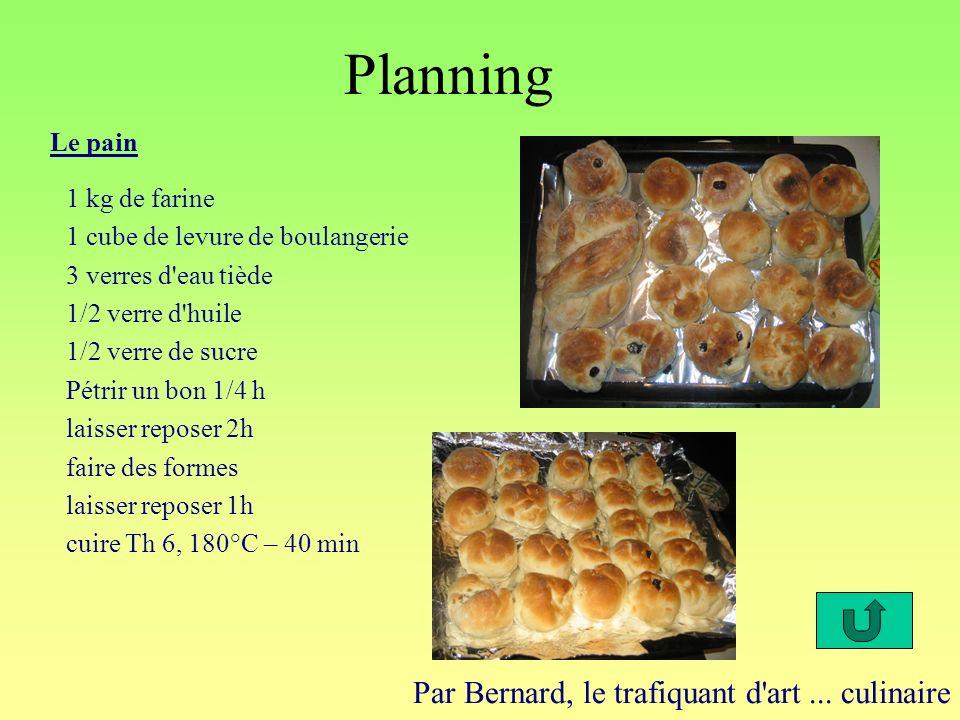 Planning Par Bernard, le trafiquant d'art... culinaire Le pain 1 kg de farine 1 cube de levure de boulangerie 3 verres d'eau tiède 1/2 verre d'huile 1