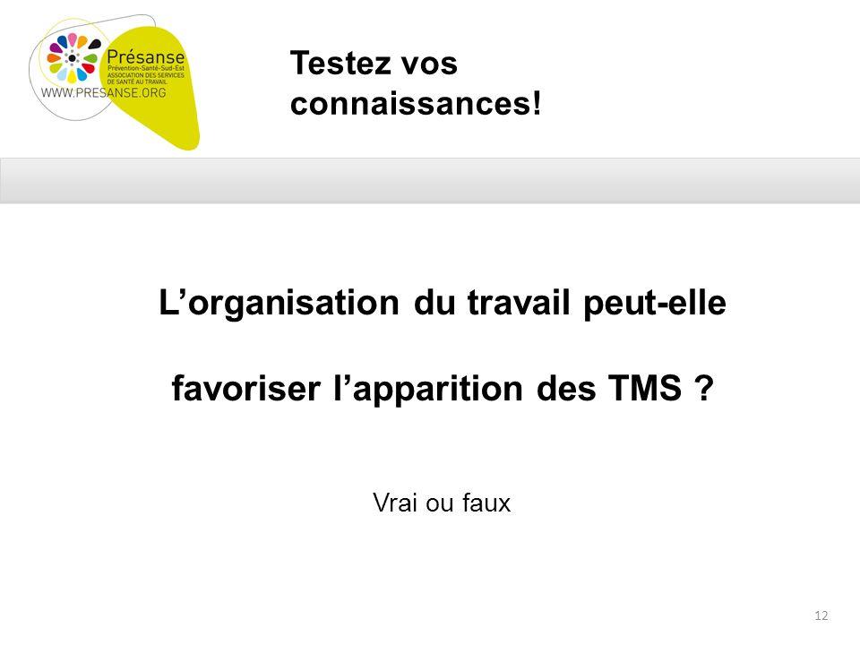 Testez vos connaissances. Lorganisation du travail peut-elle favoriser lapparition des TMS .