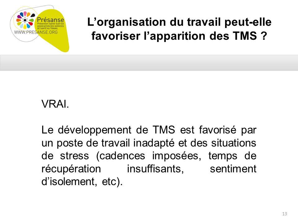 Lorganisation du travail peut-elle favoriser lapparition des TMS .