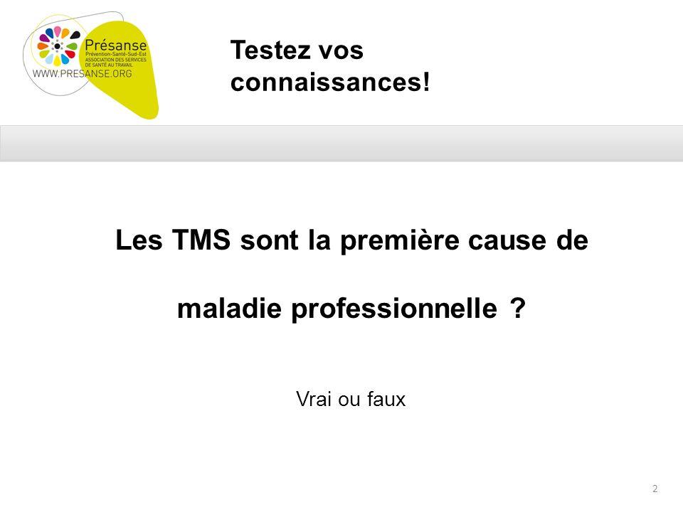 Testez vos connaissances. Les TMS sont la première cause de maladie professionnelle .