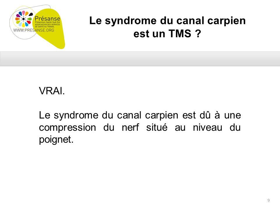 Le syndrome du canal carpien est un TMS . VRAI.