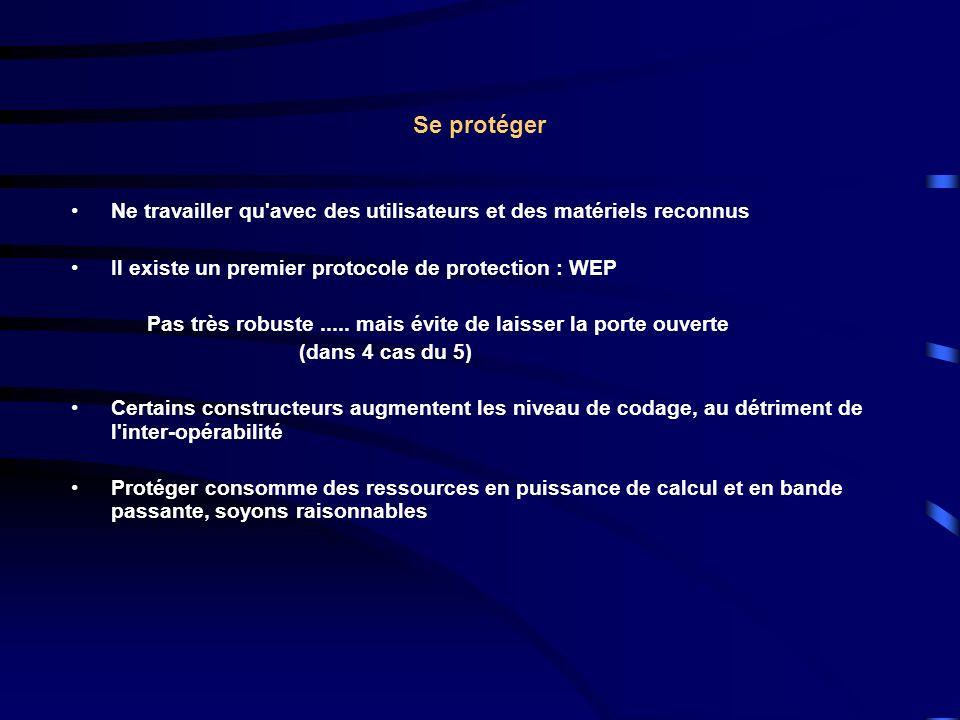 Se protéger Ne travailler qu avec des utilisateurs et des matériels reconnus Il existe un premier protocole de protection : WEP Pas très robuste.....
