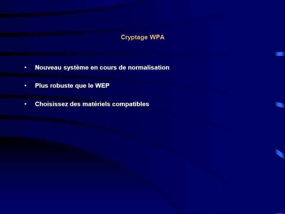 Cryptage WPA Nouveau système en cours de normalisation Plus robuste que le WEP Choisissez des matériels compatibles